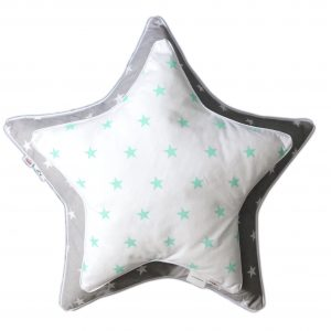 Poduszka ozdobna w kształcie gwiazdki biała w miętowe gwiazdki